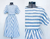 Vintage Striped Dress Chevron Skirt Nautical Summer