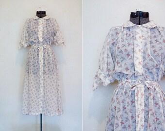 Vintage Sheer Dress 70s Floral Summer Cover-up