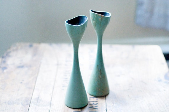 RESERVED for sewnforvictory - Mid Century Modern Swedish Candle Holder Pair Mint