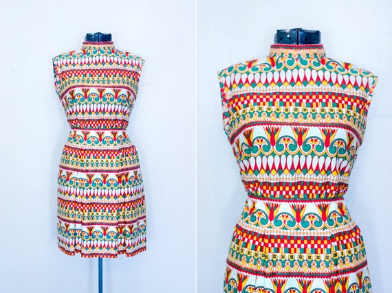 Handmade Vintage 60s Dress with Psychedelic Print