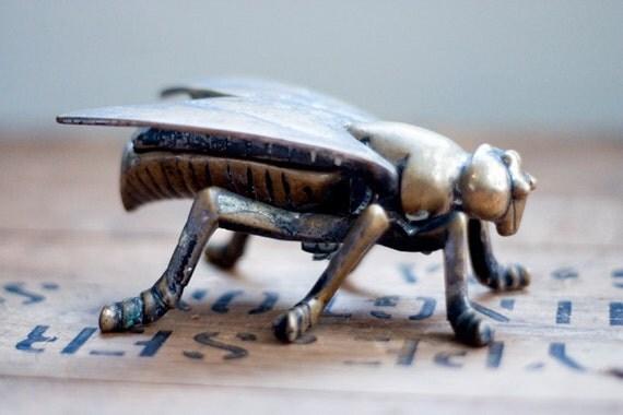 Vintage Brass Fly Ashtray 1920s Trinket Box