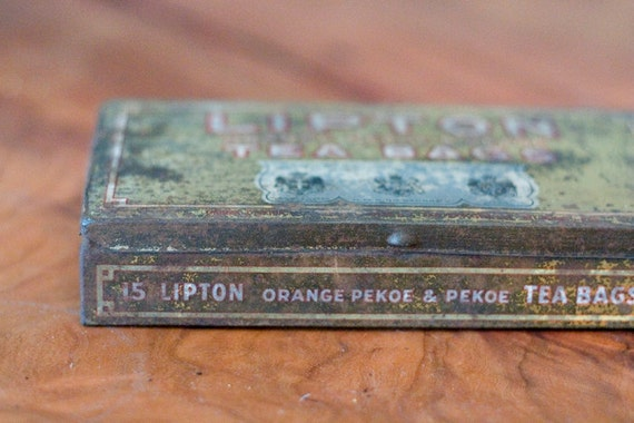 Antique Lipton Tea Tin Gold Metal Box Aged