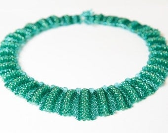 Beadwoven necklace, statement teal green bridal necklace,  beadwork wedding unique costume jewelry handmade, gift for her