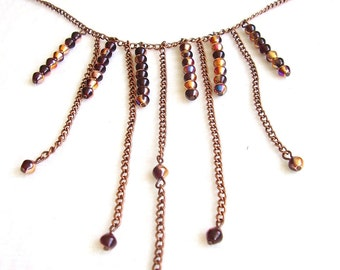 Beaded necklace chain, antique style copper handmade, gift for her