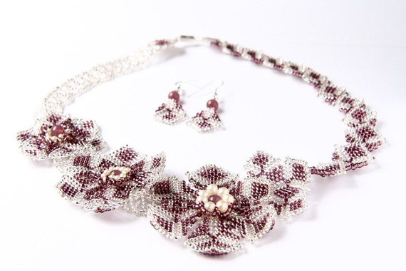 Beadwoven necklace, flower purple statement bridal set handmade gift for her