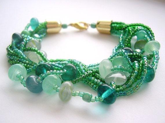 Beaded bracelet, bead multistrand chunky green handmade gift for her