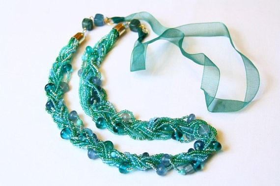 Beaded necklace, long multistrand green organza chunky beadwork handmade gift for her