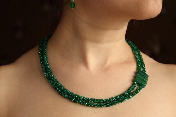 Beadwoven necklace choker, beadwork multi strand green handmade gift for her