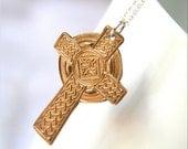 Bronze Celtic Cross No. 1 - Handmade Bronze Celtic Cross Pendant and Sterling Silver Necklace