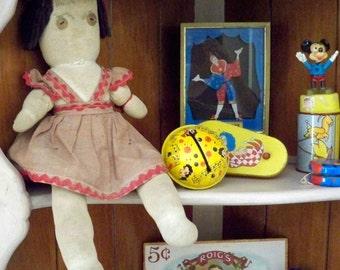Primitive Sock Doll - Farm Fresh vintage stuffed doll - Primitive collectible - Yarn hair - Button eyes- cheesegrits