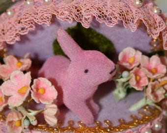 Ornate Vintage Lavender Velvet Easter Egg with Pink Bunny and Flowers