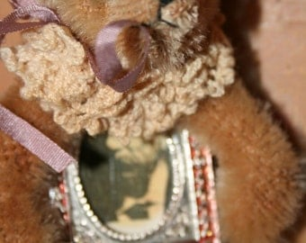 Artist Made Vintage Mohair Bear Brooch Picture Frame Pin