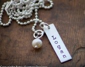 Personalized Rectangle Tag Necklace - Hand Stamped Jewelry - Mommy Necklace - Sterling Silver