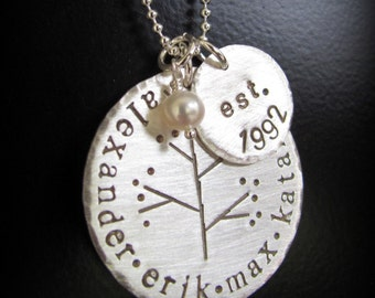 Hand Stamped Jewelry - Personalized Necklace - Sterling Silver - Family Tree