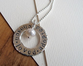 Adoption Necklace - Hand Stamped Sterling Slver