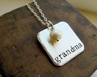 Grandma Sterling Silver Hand Stamped Square Necklace - Gift for Mothers Day - For Grandma - Unique Grandma Gift