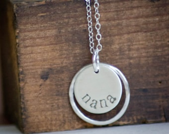 Nana Necklace - Hand Stamped - Sterling Silver - Simple Mothers Day Gift Present Gift for Nana
