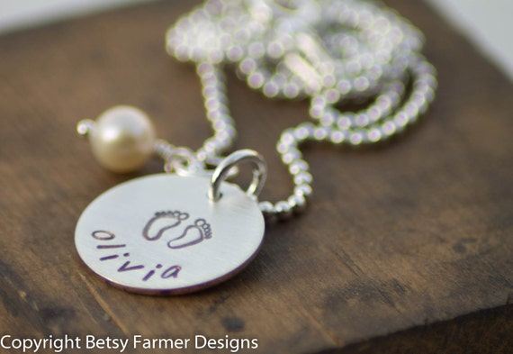 Baby Feet Necklace - New Baby - Mommy Jewelry - Hand Stamped Sterling Silver