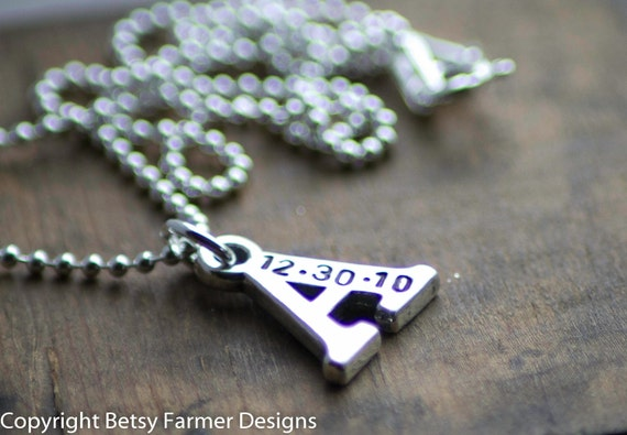 ONE Initial - Hand Stamped Jewelry with Birthdate - Sterling Silver Letter Charm