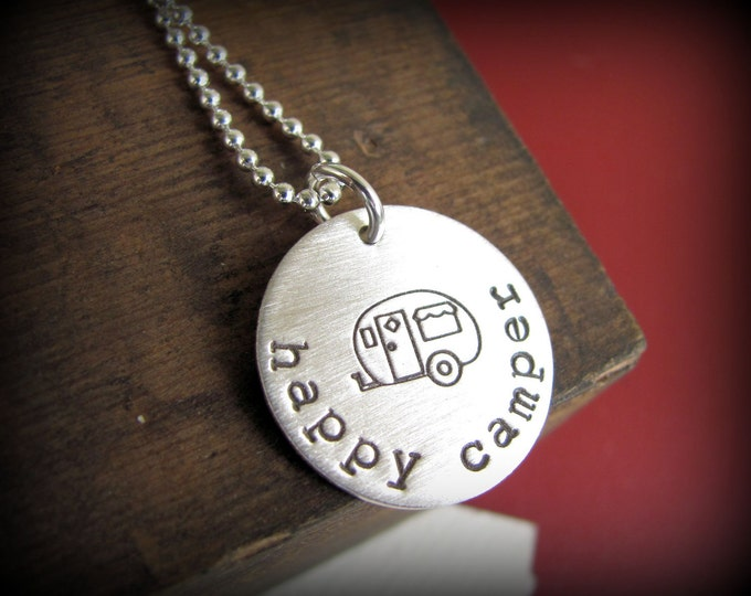Happy Camper Necklace - Hand Stamped Sterling Silver