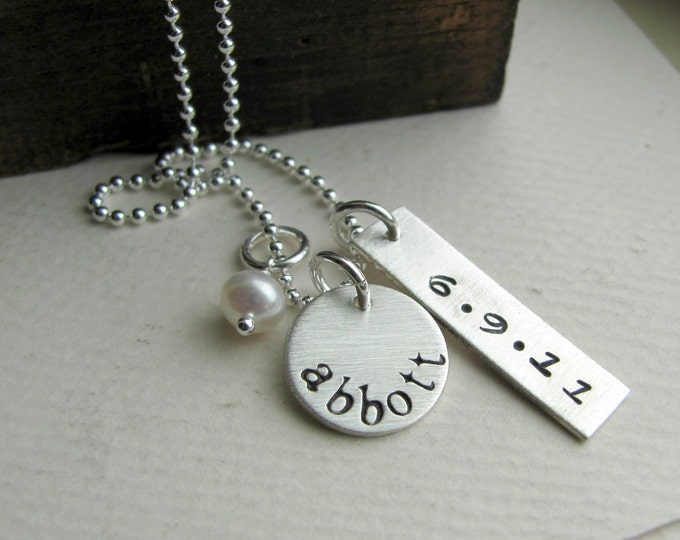 Hand Stamped Jewelry - New Baby Personalized Sterling Silver Necklace