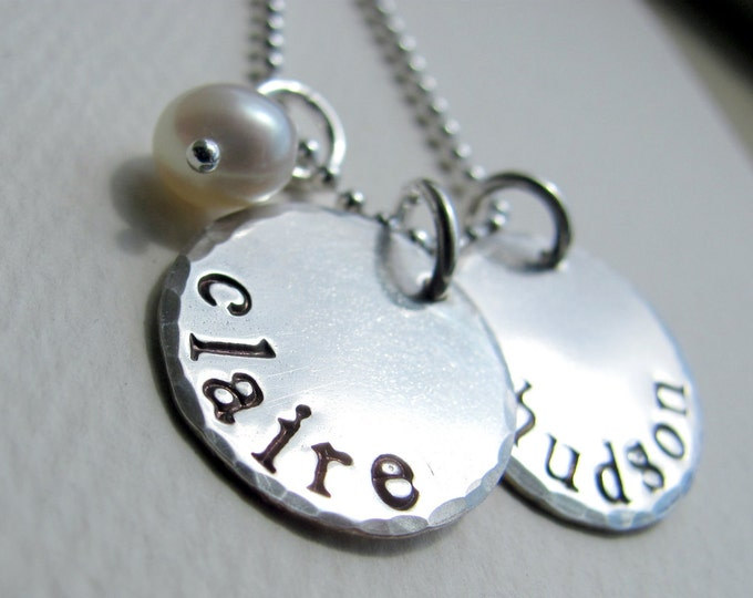 Hand Stamped Jewelry - Mommy Necklace - Two Sterling Silver Discs