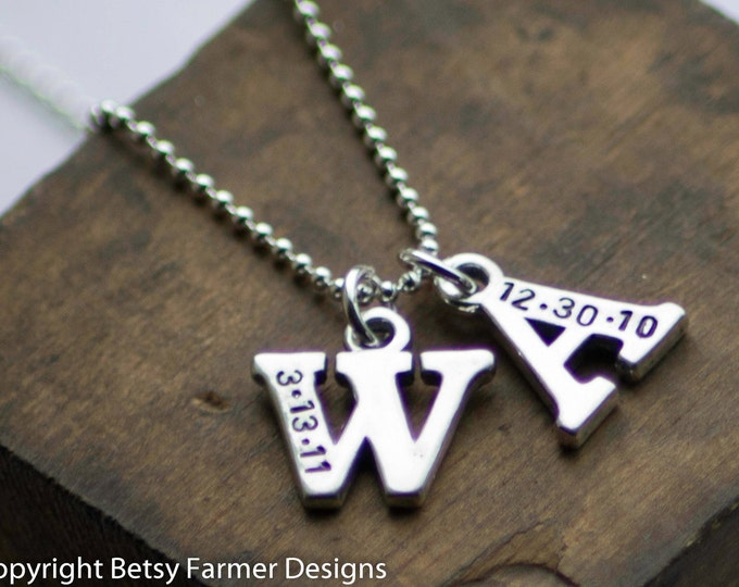 Custom TWO Initials With Birthdate - Sterling Silver Charm Necklace
