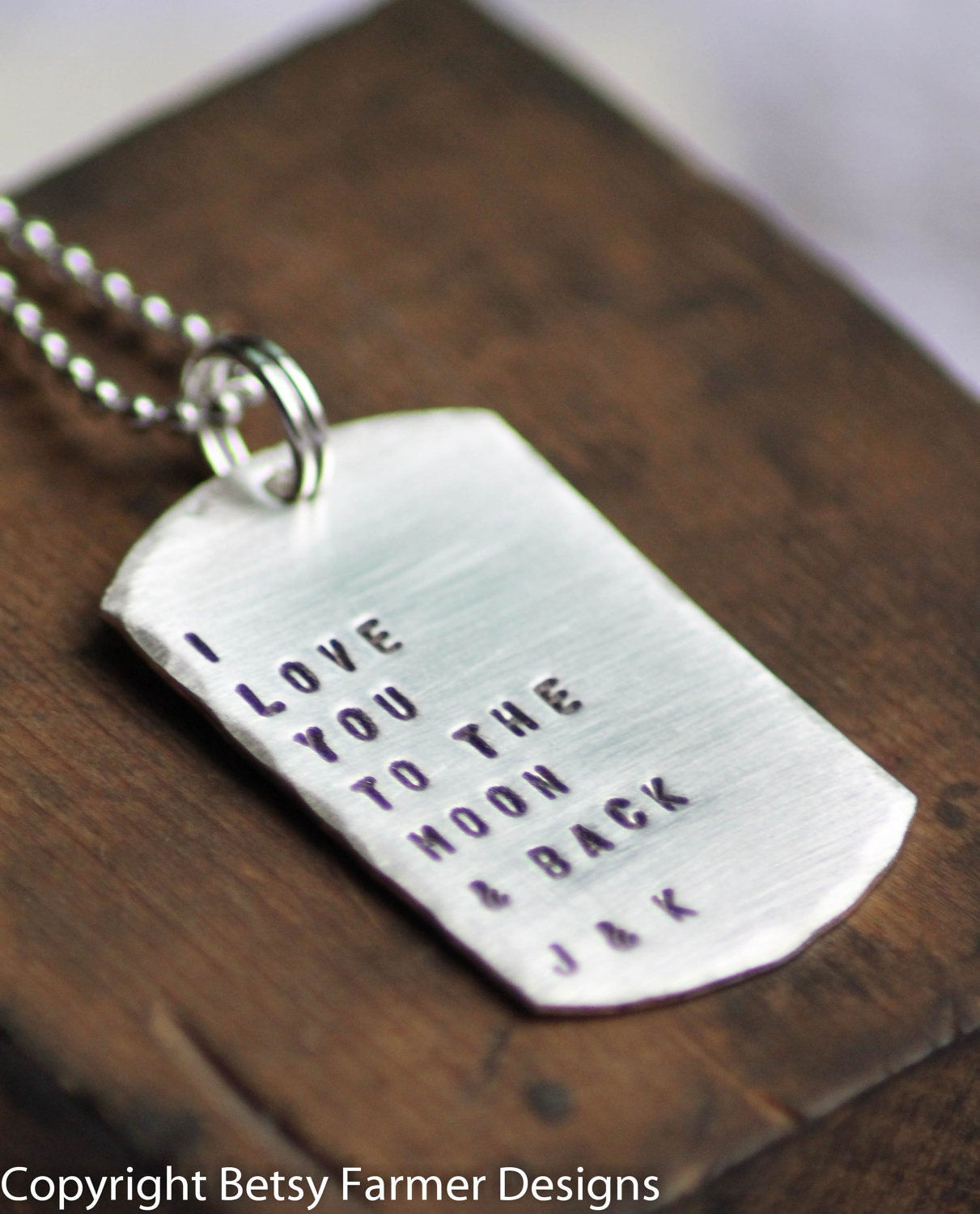 personalized dog tag necklace hand stamped i love you to. Black Bedroom Furniture Sets. Home Design Ideas
