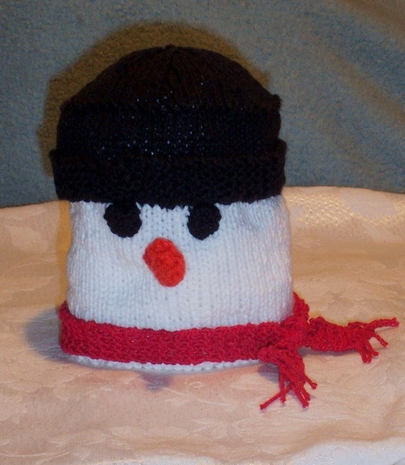 Knitting Pattern For Snowman Hat : Items similar to Knitted SNOWMAN Hat on Etsy