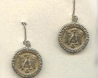 1800s Metal Button Earrings with Eagle