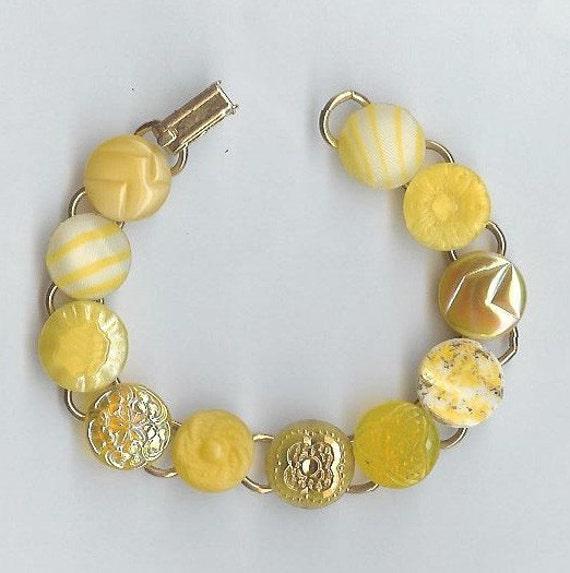 Mid 1900s Yellow glass button bracelet