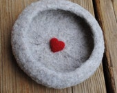 Felted Ring Dish,Shallow Bowl in  Natural Wool with a Bright Red Heart