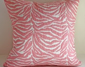 "SALE// Zebra Pillow Cover/ 18""x18"" / Animal Print in Pretty in Pink"