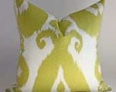 Chartreuse Ikat Pillow Cover /  Select your size