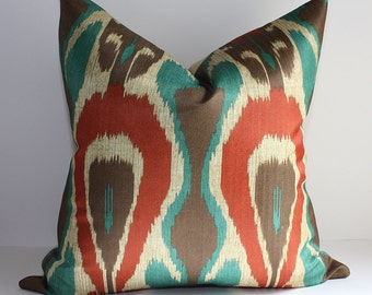 ONE - Modern Ikat Pillow Cover / 17 x 17 / Mediterranean Colorway