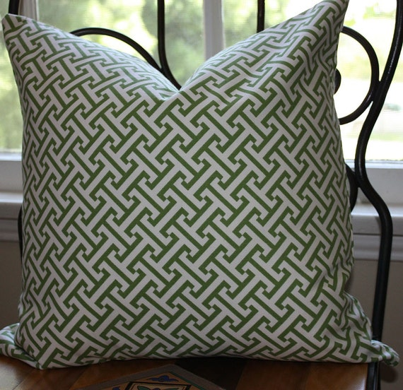 Kelly Green Greek Key  Pillow Cover / 18x18 inch / Waverly Cross Section Green