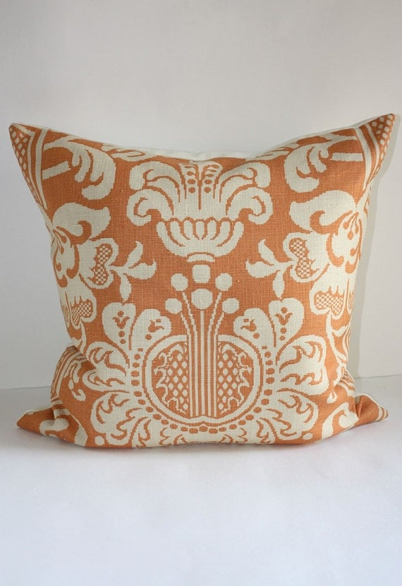 ONE- Damask Pillow Cover / 12 x 20 Lumbar / Vervain Design in Orange Spice and Sand / Free Domestic Shipping