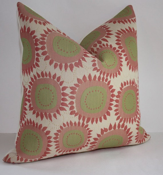 Set of Two -  Modern Floral Indoor / Outdor Pillow Covers /  12x20  Coral Pink & Honeysuckle Pink / Free Domestic Shipping