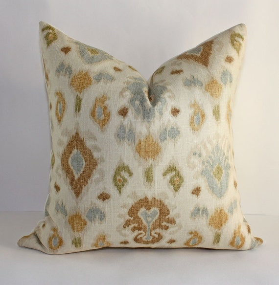 Ikat Pillow Cover in Neutral Colors / 18x18