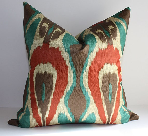 Ready to Ship / Ethnic Ikat Pillow Cover / 12x20  / Mediterranean Palette