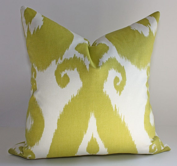 Chartreuse Ikat Pillow Cover / 18x18