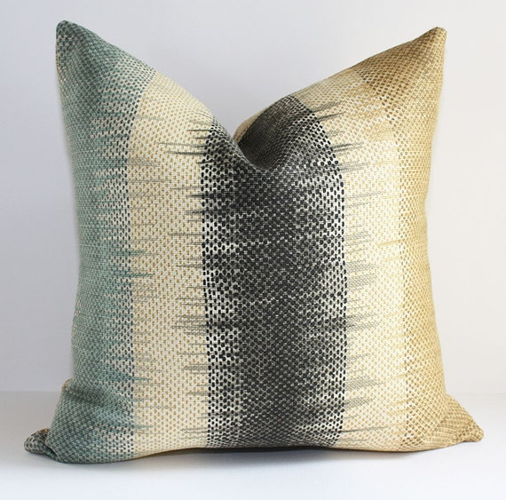 Stripe Pillow Cover/ 18x18 / Clarence House in Neutral Tones