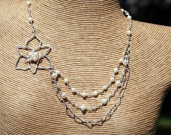 Triple Strand Tiger Lily Fresh water Pearl Necklace with hand forged sterling flower