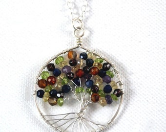 GemstoneTree of Life Necklace in silver