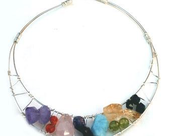 Semi Precious Stone Collar Necklace