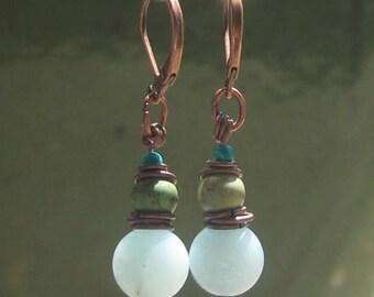 Green Jade  & Turquoise Earrings