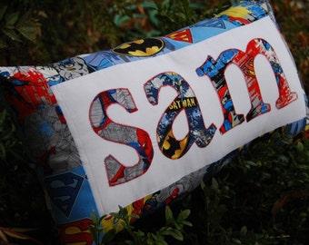 Personalized SuperHero Pillow - Custom Name Pillow - Batman Pillow - Makes a GREAT GIFT