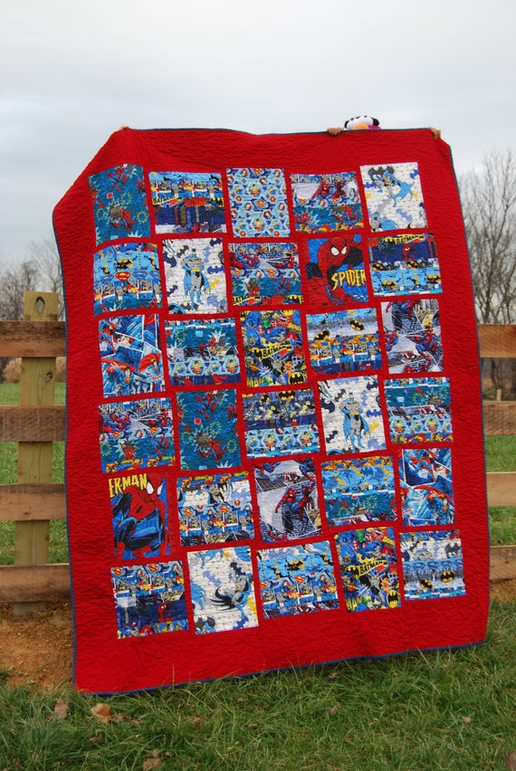 Custom Superhero Full Size Quilt And By Tigerlilydesignsshop