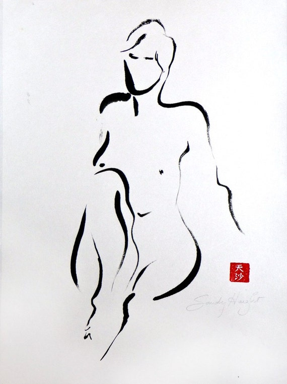 Leaning Back Knee Up  Original Sumi Figure painting