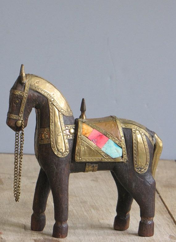 vintage wooden horse statue